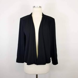 Alice + Olivia Black Open Draped Blazer Jacket